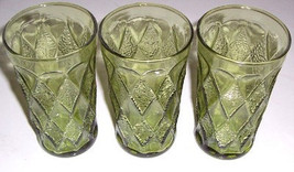 Vintage (3) Large Anchor Hocking Kimberly Designed Fire King Green Glasses - $59.95
