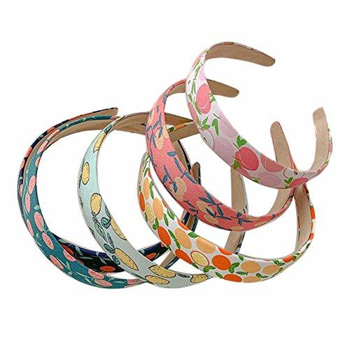 6 Pcs Fruits Pattern Headbands Colorful Wide Hairband Hair Hoop for Women Girls