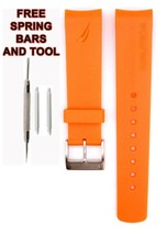 Nautica A17614g 22mm Orange Diver Rubber Bracelet de Montre Anti Allergique - $28.70
