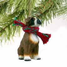 1 X Boxer Miniature Dog Ornament - Uncropped Ears - $10.99