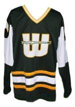 Any Name Number New England Whalers Wha Retro Hockey Jersey Dark Green Any Size image 1
