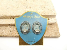 Vintage Whiting & Davis Clear Intaglio Cameo Clip Earrings On Original C... - $21.99