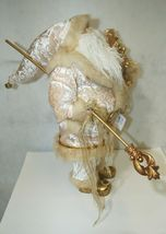 Sterling Brand Large Luxurious Ivory Santa Figurine Holding Gold Color Staff image 3