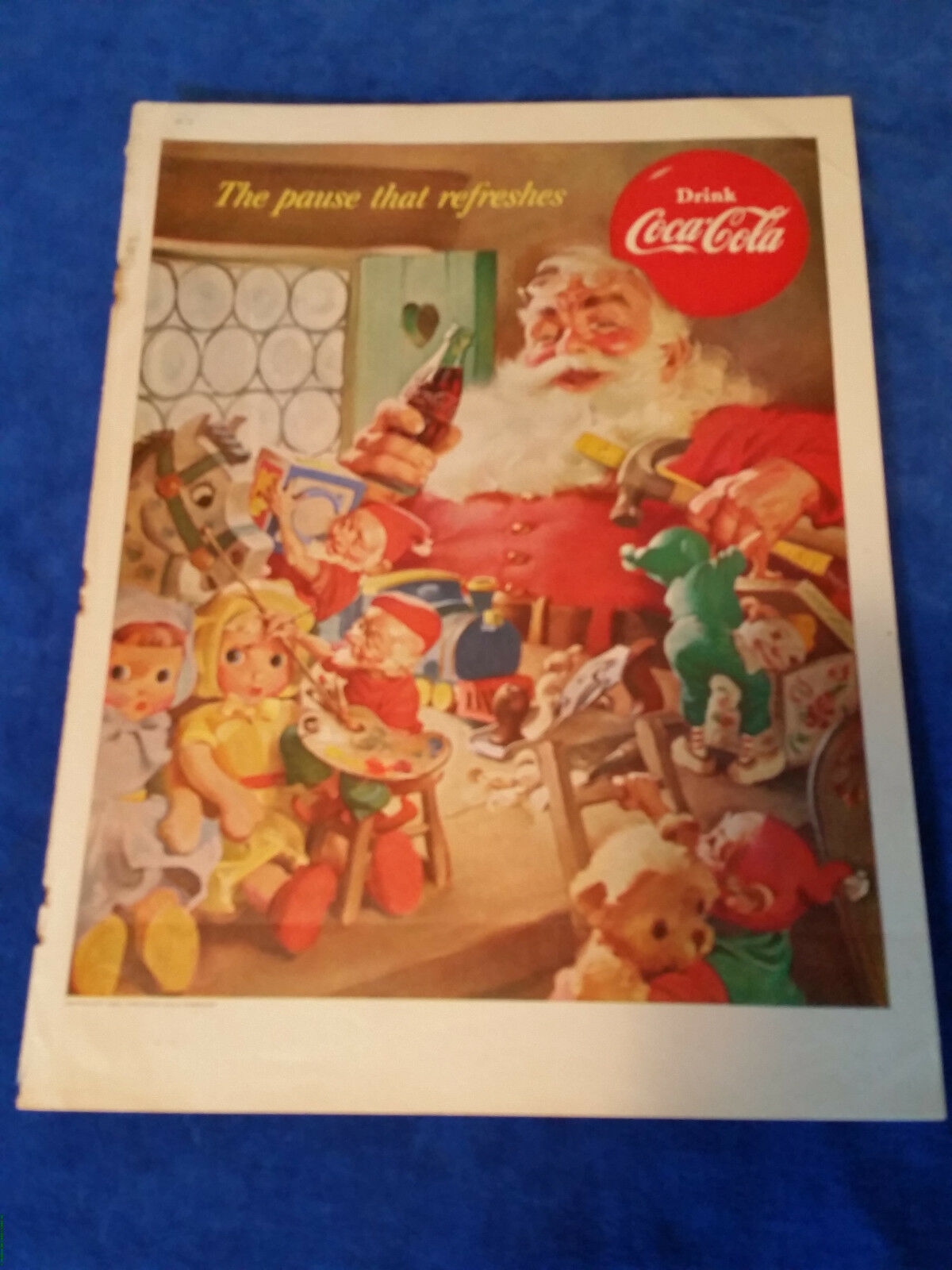 "Primary image for 1953 Original Coca Cola Magazine ad Santas Workshop 10 1/2""x14"""