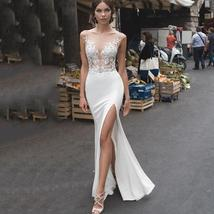 Backless Illusion Mermaid Wedding Dresses Lace Side Split image 9