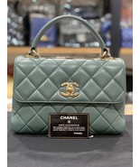 AUTH CHANEL GREEN QUILTED LAMBSKIN TRENDY CC 2 WAY HANDLE FLAP BAG - $3,999.99