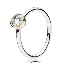 925 Sterling Silver Petite Circle with 14K and Clear CZ Ring For Women QJCB1248 - $32.66