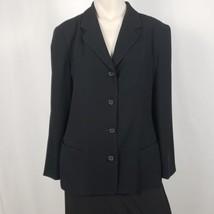 Anne Klein II Blazer Women's Size 12 Black 4 Button USA Union Made Light... - $18.53