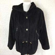 Nils Resort Collecetion Womens Jacket Coat M Black Fleece Hooded Zip Poc... - $39.59