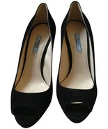 NIB Prada Suede Leather Black Peep Open Toe Platform Heel Pump 38.5 - $475.00