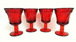 """Vintage 4 Fostoria Jamestown Red *4 3/8"""" - 3.5 Oz Wine Goblets* - $39.60"""