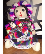 Hand Made Crafted Rag Doll Mexican Colorful Tight Stuffed Pink Face - Si... - $28.70