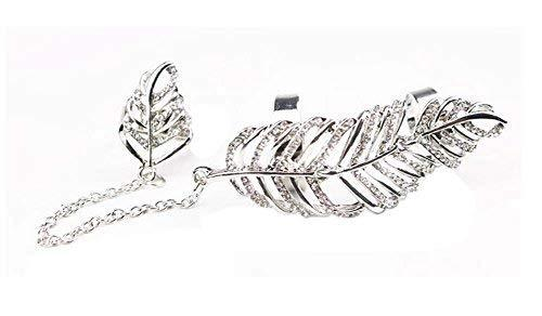 Fashion Personality Bracelet Jewelry Finger Rings And Chains, Silver Leaf