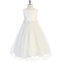Ivory Lace Bodice and Wired Tulle Skirt Flower Lace Trim Communion Girl ... - $52.00+