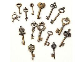 Antique Gold Vintage Key Charms, 15 Count