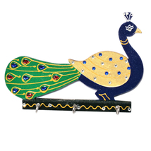 Decorated Wall Mounted Peacock Shape Wooden Key Holder with 3 Hooks - $26.95