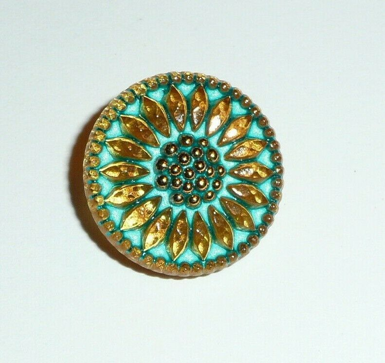 Primary image for Czech Glass Daisy Flower Gold & Tea Green w Tea Green Wash Shank Button 18mm