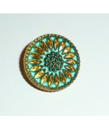 Czech Glass Daisy Flower Gold & Tea Green w Tea Green Wash Shank Button ... - $6.43