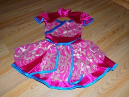 Child Size Small Weissman Pink Turquoise Gold Skirted Dance Unitard Leot... - $24.00