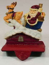 Santa Claus in Sleigh on House Christmas Stocking Holder Cast Iron & Resin - $14.99