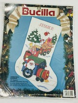 "Bucilla Christmas Express 18"" diagonal stamped cross stitching stocking Vintage - $62.14"