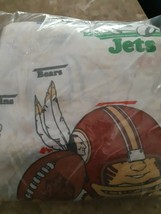 Vintage Sears Flat Sheet Twin Football Teams Sports Bedding Perma Press ... - $24.31