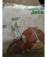 Vintage Sears Flat Sheet Twin Football Teams Sports Bedding Perma Press ... - $24.31