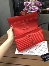 100% AUTH Chanel RARE Coral Red Lambskin Chevron Medium Double Flap Bag SHW image 5