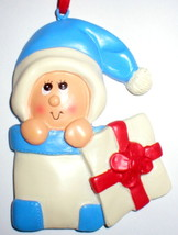 BABY BOY FIRST CHRISTMAS TREE ORNAMENT PEEKING OUT OF BOX  UNIQUE GIFT B... - $14.84