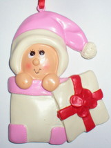 BABY GIRL FIRST CHRISTMAS TREE ORNAMENT PEEKING OUT OF BOX  UNIQUE GIFT ... - $14.84