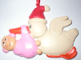 STORK CARRYING BABY GIRL IN PINK BLANKET FIRST CHRISTMAS TREE ORNAMENT N... - $14.84