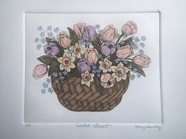 "Nancy Bradley LTD Etching ""Dutch Treat"" Floral Basket of Tulips, Daffodi... - $24.74"