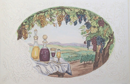 "Dorothy Lundquist Embossed Etching ""Sunshine Vintage "" Wine on Table in ... - $17.81"