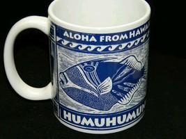 Hawaii State Fish Humuhumunukunukuapua'a Mug Cup Blue White - $18.32
