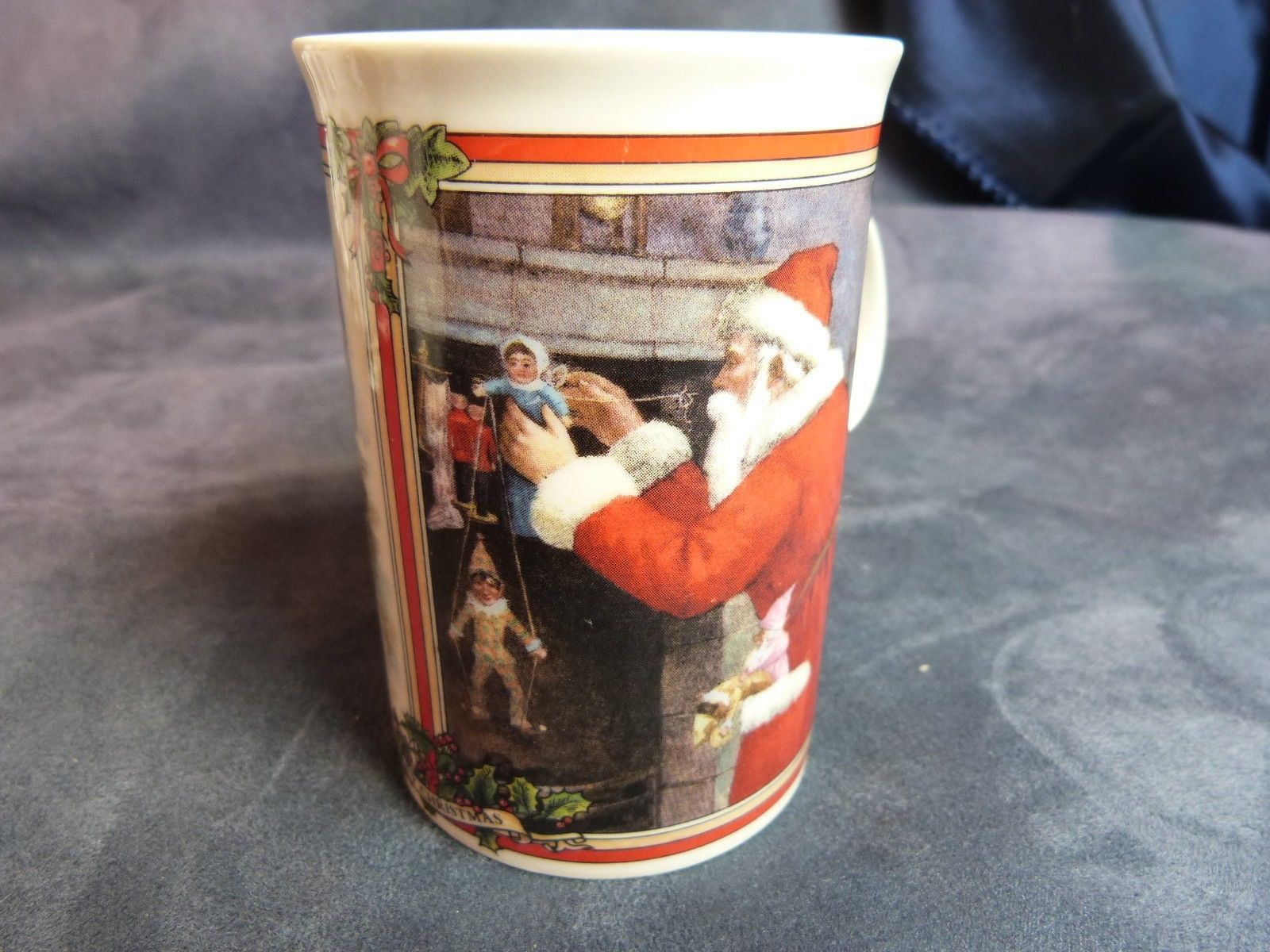 "Dunoon Ceramics Scotland Mug Victorian Christmas Prints Glad Tidings Santa 4"""