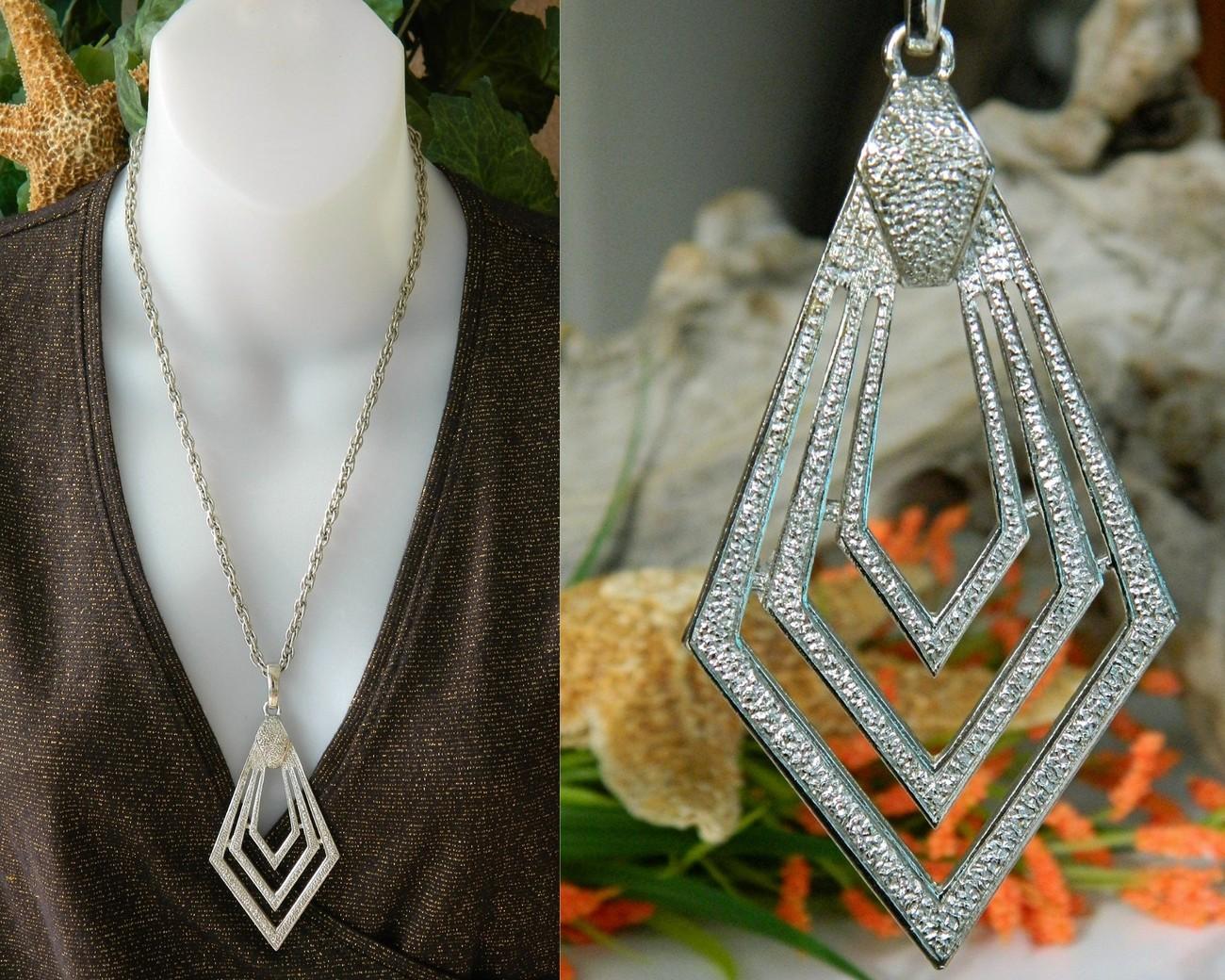 Vintage geometric diamond shaped pendant necklace concentric