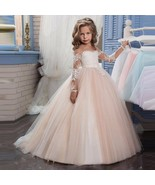 A Line Tulle Flower Girls Dresses  Long Lace Sleeve Pricess Child Pagean... - $75.00