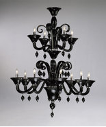 BLACK Glass & Chrome Accents, MURANO Style, 12 Light Chandelier, Hollywo... - $2,497.50