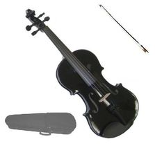 1/10 Size Black Violin Black Bow with Case,Rosin ~ Student Beginner Starter Gift