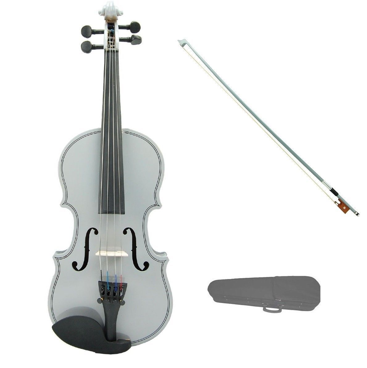 Primary image for 3/4 Size Silver Violin Silver Bow with Case,Rosin~Student Beginner Starter Gift
