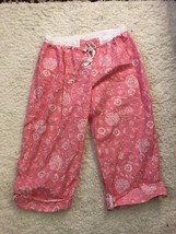 New Women's Jockey Pink and White Drawsting Cropped Pajama Pants Size XL - $16.69