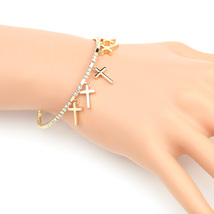 UE- Designer Gold Tone Bangle Bracelet With Swarovski Style Crystals & Crosses - $19.99