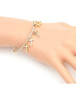 UE- Designer Gold Tone Bangle Bracelet With Swarovski Style Crystals & C... - $19.99