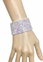 "Silver Tone 1.5"" Width Stretch Bracelet, Aurora Borealis Rhinestones, Pa... - $22.80"