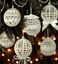 W488 Crochet PATTERN ONLY Christmas Snowballs Hollow Ornament Patterns - $16.50