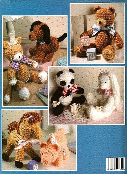 W774 Crochet PATTERN Book ONLY Cuddle Toys Rabbit Dog Panda Horse Cat Bear