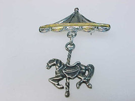 CAROUSEL Horse Vintage BROOCH Pin in STERLING Silver - 1 3/4 inches long - $38.00