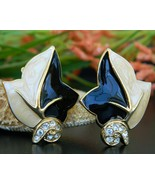 Vintage Trifari TM Leaf Earrings Black Cream Enamel Rhinestones Clip - £20.03 GBP