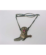 10K GOLD and STERLING Vintage COWBOY BOOT with small RUBY Tie Clasp/Bar/... - $125.00