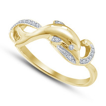 Dolphin Fish Womens Diamond Wedding Engagement Ring Yellow Gold Over 925 Silver - £57.00 GBP